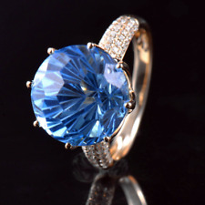 Natural Diamond Big Round 12mm Blue Topaz 10.5CT Lady Ring Solid 14K Yellow Gold