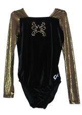 Gk Elite Jeweled Star Black Velvet/Gold Gymnastics Leotard - As Adult Small 4174