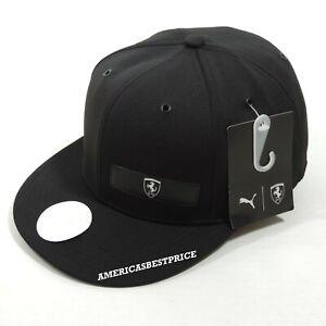 PUMA SCUDERIA FERRARI LS NEW MENS FLATBRIM BASEBALL CAP/HAT BLACK ADJUSTABLE NWT