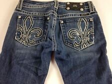 Miss Me Jeans Fleur De Lis Womens 26 Buckle 29.5 x 30 Actual Bling Stones Dark