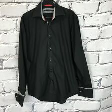 Mens black Guide London Smart Shirt Medium long sleeve M French Cuff Mod Ska