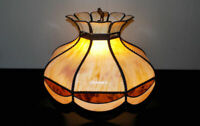 """Bent & stained glass hanging light fixture round 21"""" chandelier curved slag"""