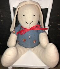 "Handmade Plush Bunny Rabbit Doll American Flag Heart Muslin 10.5"" Artist Signed"