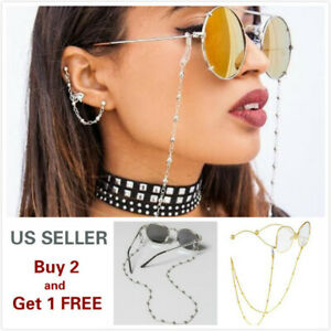 Eyeglass Chain Sunglasses Read Bead Glasses Chain Holder Eyewear Rope Necklace A