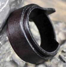 Thick & Wide Wrap-around Genuine Leather Bracelet Wristband Cuff Cool Mens Black