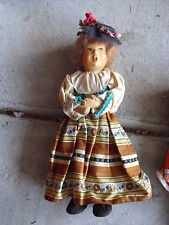 "Vintage Plastic Head, Cloth Character Girl Doll 8 1/2"" Tall"