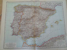 Old Map SPAIN AND PORTUGAL ~ Taken From The Universal Atlas 1893