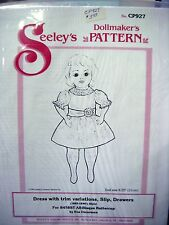 "Seeley's Dollmakers Pattern CP927 - DRESS w/ TRIM, SLIP - BUTTERCUP - 8.25"" DOLL"