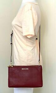 Michael Kors Jet Set Double Zip Red Maroon Pebbled Leather Crossbody Bag