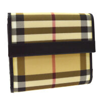 BURBERRY Check Pattern Card Holder Wallet Purse Beige Black PVC NR15847