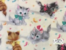 RPFMM78G RARE Kitty Kittens Cat Retro Vintage Cute Bows Cat Cotton Quilt Fabric