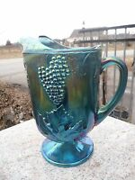 Vintage Indiana Blue CARNIVAL GLASS Footed Pitcher GRAPE HARVEST Iridescent