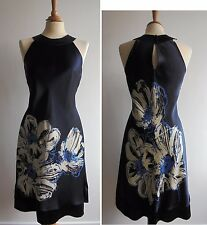 COAST Blue 100% Silk Satin Dress UK8 Bold Floral Print Party/Wedding Fully Lined