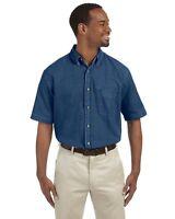 Harriton Men's 6.5 oz. Short-Sleeve Denim Shirt M550S S-4XL