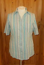 COTTON TRADERS aqua turquoise blue green stripe short sleeve blouse shirt top 16