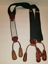 Barrons Hunter Ivy Virgina Green Plaid Suspenders with Leather straps