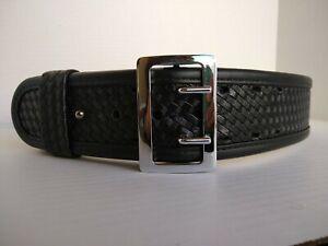 BIANCHI 7960 Size 30-32 Black Basketweave Accumold Elite SAM  BROWNE Duty Belt