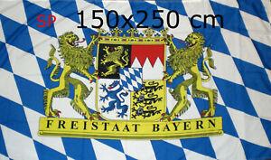SP Flagge Fahne Bayern Freistaat Bayern  Staatswappen XXL Fahne 150x250 cm NEU