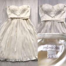 monsoon pleated strapless dress ivory uk 10 bridal grecian beach wedding E2