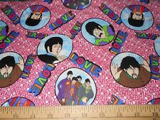 """34"""" The Beatles All You Need Is Love Faces n Pink Fabric"""