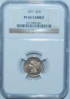 1877 NGC PR65CAM Cameo 3 Cent Nickel 3CN Proof Strike