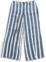 Lauren Ralph Lauren Blue & White Stripe Linen Wide Leg Pants Women's NEW