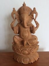 Hand-carved, Wood Ganesh Statue