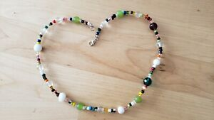 "MIXED GLASS BEADS Necklace 18"", HAND CRAFTED in USA - 8mm-10mm"