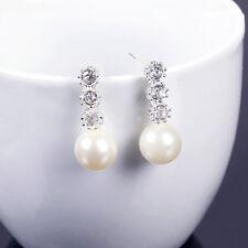 Crystal Drop Earrings Diamante Bridal Pearl Rhinestone Silver Dangle Party Short
