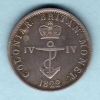 British West Indies. 1822 1/4 Dollar - Anchor Money..  gVF