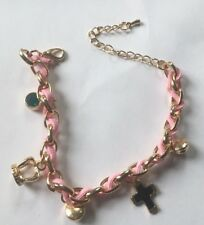 Gold Tone Pink Charm Bracelet with Blue, Pink, Crystal, Cross & Crown Charms
