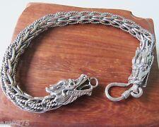 "New Classic S925 Silver Bracelet Unique Chain Link With Bless Dragon Head 7.7""L"