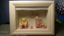 """Framed Baby Room Theme Shadow Box 9"""" x 7""""  Pink"""