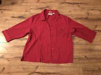 Joanna Stretch Women's Pink Button-up Shirt 3/4 Sleeve Size 2X ~ EUC ~ *WOW*