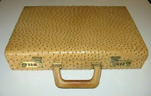 Genuine OSTRICH Leather Hard Case Men's Briefcase w/Real Suede Lining