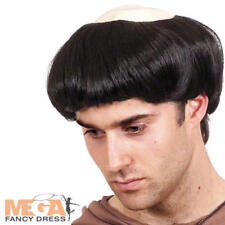 Mens Black Monks Wig with Attached Bald Cap Priest Fancy Dress Costume Accessory