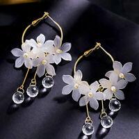 Women Crystal Tassel Dangle Acrylic Flower Drop Earrings Elegant Party Jewelry