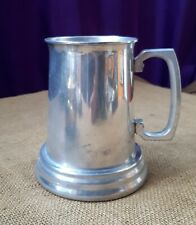 Vintage 1960s Silver Electroplate Pint Tankard with Glass Bottom. Beer/ Ale/ Pub