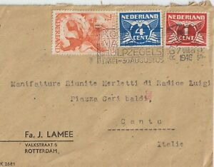 1946 NETHERLANDS MULTIFRANCHISING COVER FROM ROTTERDAM TO ITALY