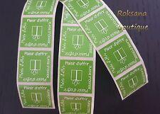 """50 Etiquettes cadeaux """"Plaisir d'offrir"""" stickers cadeau autocollantes vert anis"""