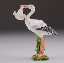 Stork & baby trinket box hand made by Keren Kopal with Austrian crystal Faberge