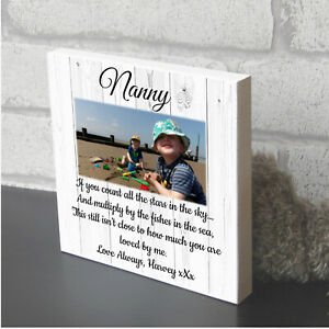 Large personalised Photo Block Nanny Nanna Nan Mothers Day gift wooden plaque