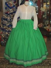 CIVIL WAR DRESS~VICTORIAN STYLE REGAL 100% COTTON KELLY GREEN HOOP SKIRT