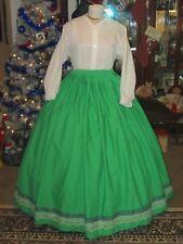 Civil War Dress~Victorian Style Regal 100% Cotton Kelly Green Hoop Skirt