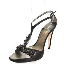 $325 Salvatore Ferragamo Womens Black Ankle Strap Jeweled Sandal Heels Size 9 M*