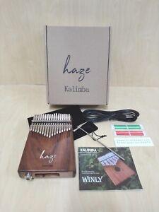 Haze 17-Key Solid Acacia Kalimba MBIRA Thumb Piano w/Pickup,Tutorial Manual 01EA