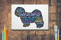 Lhasa Apso Dog Word Art Canvas A4 A3 A2A1 Mothers Day Gift Personalised Option