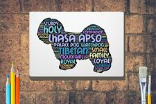 More details for lhasa apso dog word art canvas a4 a3 a2a1 mothers day gift personalised option