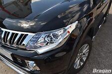 Per adattarsi 2015+ MITSUBISHI L200/TRITON/Strada Cromato Luce anteriore Trim Set 2 PZ