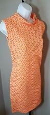 Vintage 1960s Mad Men Style Orange Print Sz Small Stretch Dress